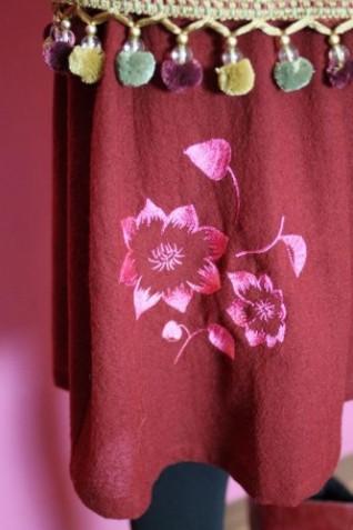 クレマチス刺繍ギャザースカート