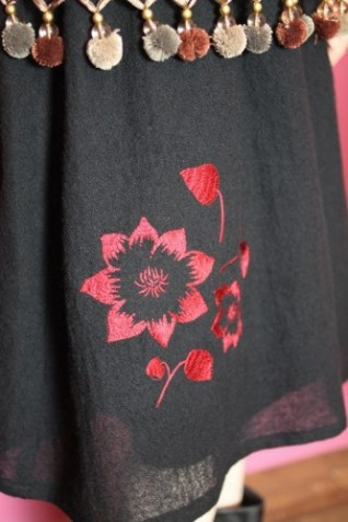 クレマチス刺繍ギャザースカート2